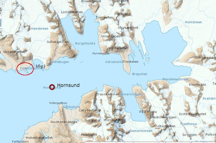 Mapa fiordu Hornsund