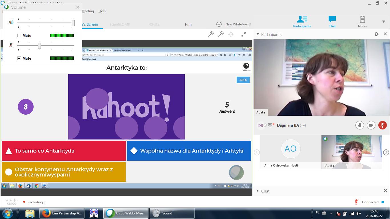 Zrzut ekranu podczas transmisji
